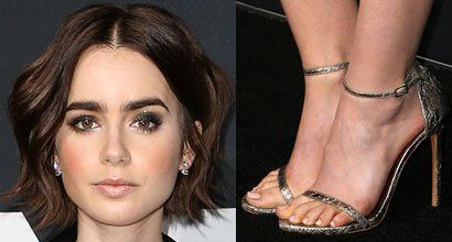 Lily Collins Flashes Flawless Legs in Gold Mini Dress and Stuart Weitzman 'Nudist' Sandals at the 2016 Saint Laurent at the Palladium Event