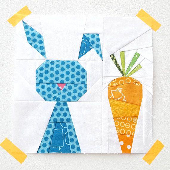 Funny Bunny quilt block pattern - paper piecing block - rabbit quilt