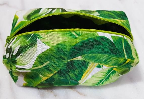 858446b43 Palm Makeup Bags Palm Leaf Bag Tropical Makeup Bag Green