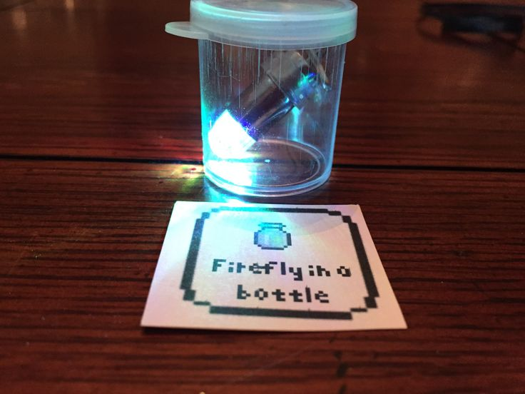 Terraria party favor.  Firefly in a bottle. Bulk balloon LEDs I put on a keychain.