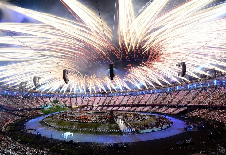 Fireworks burst above the Olympic Stadium during the Opening Ceremony.
