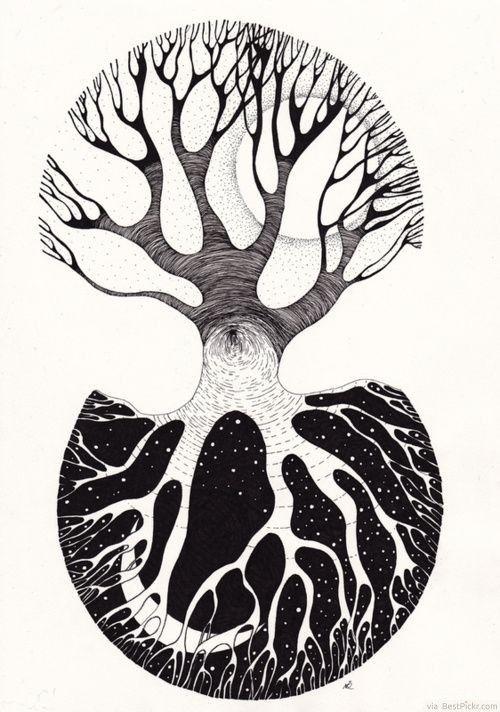 Day & Night Oak Tree Yin Yang Drawing ❥❥❥ http://bestpickr.com/yin-yang-tattoos