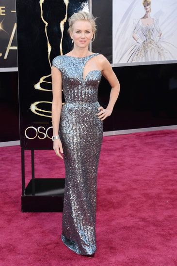 Yes! Death to the boring strapless gown! So much love for Naomi Watts in this stunning silver Armani Prive creation.