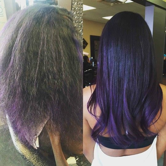 Before and After.. Brazilian Blow Out with Violet Pravana Ombre- Hair by Linda Bang