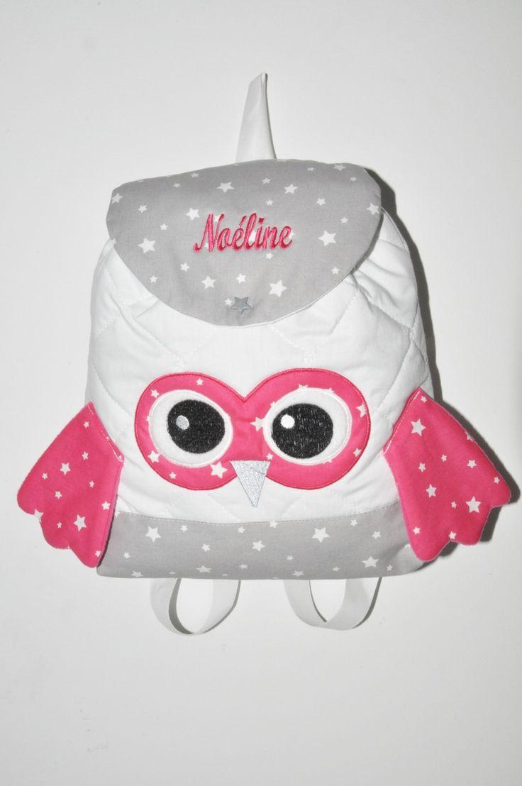 Sac a dos chouette rose enfant personnalisé brodé pour crèche maternelle balade école sport danse maternelle : Autres bébé par lbm-creation