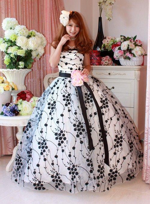 中古ウェディングドレス・中古カラードレス中古カラードレス AJK0034B カラー:ホワイト&ブラック サイズXXL|ドレスショップALLURE(アリュール)