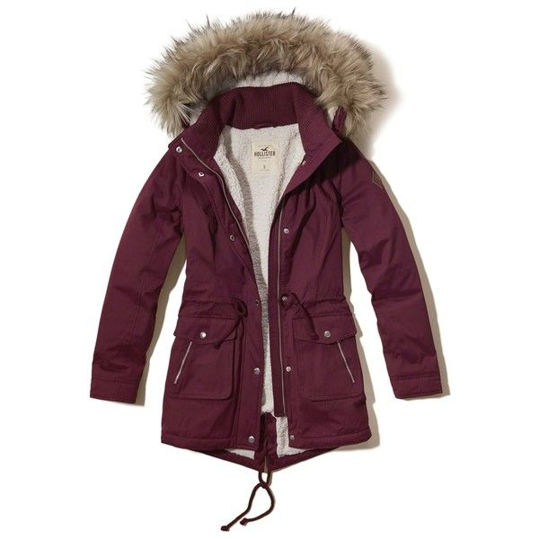 Hollister Heritage Sherpa Lined Parka (2802805 BYR) ❤ liked on Polyvore featuring outerwear, coats, burgundy, burgundy coat, parka coats, zip coat, fur parka coat and fur-lined parkas