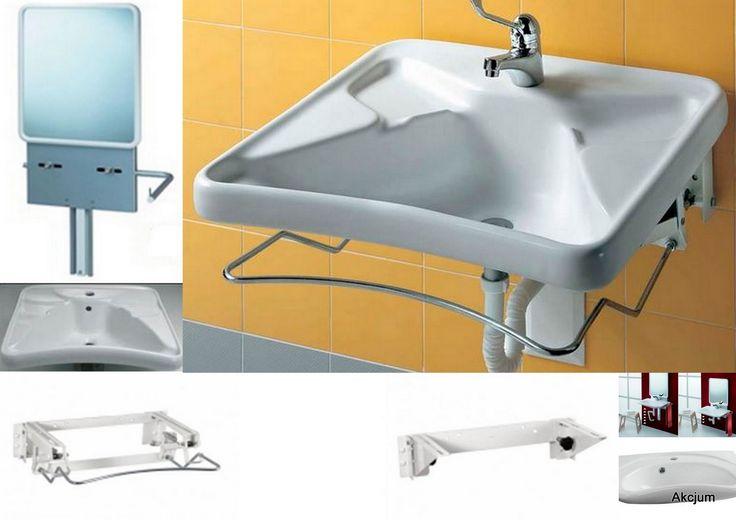 Umywalka dla osób niepełnosprawnych z wycięciem. Umywalkę instalujeby bezpośrednio do ściany, istnieje możliwość zainstalowania na specjalnym stelażu umożliwiającym pochylenie kąta umywalki. Można również zainstalować umywalę na specjalnym stelażu który umożliwia regulację wysokości umywalki dla osoby niepełnosprawnej