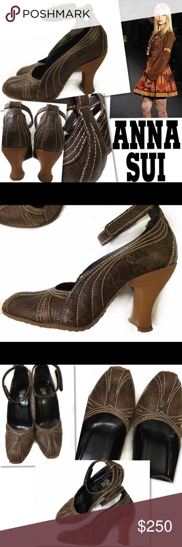 ANNA SUI BROWN DISTRESSED LEATHER HEELS SHOES SZ 6 ANNA SUI  ITALY BROWN DISTRESSED LEATHER ANKLE STRAP HEELS ITALY SZ 36 US SZ 6 Anthropologie Shoes Heels