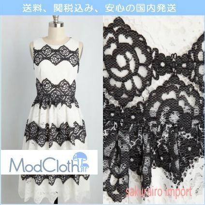 ★新作 モドクロス modcloth 花柄 白黒レースドレス ワンピース