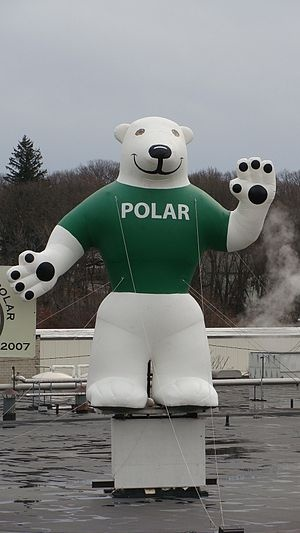 Orson the Polar Soda Company's mascot on the top of their ...