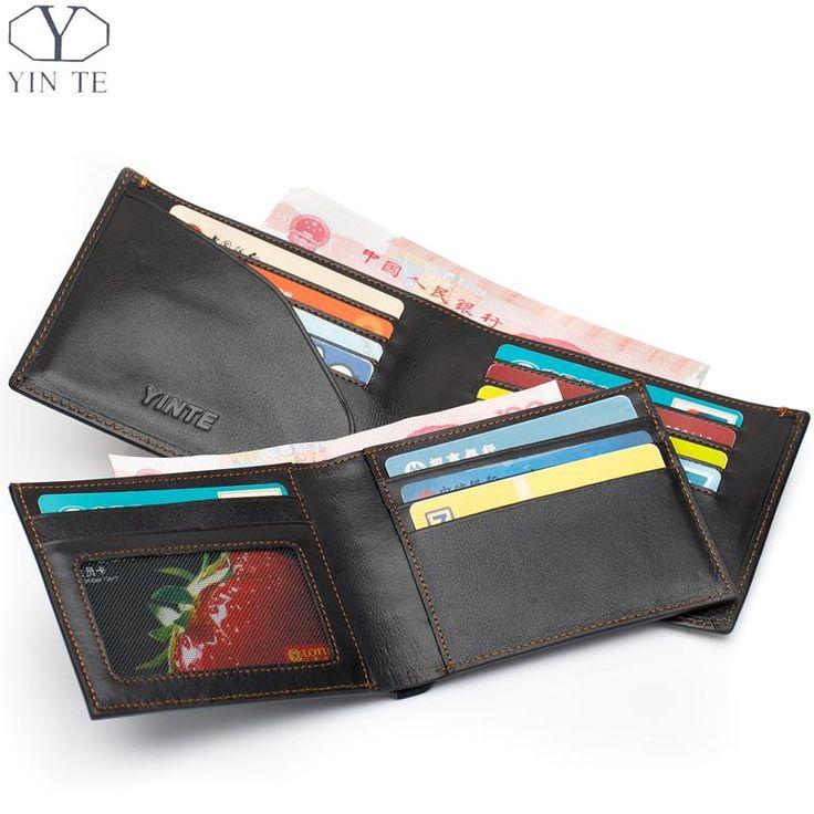 YINTE Herrenbrieftasche Aus Echtem Leder Business Casual Kreditkarte ID Halter Geld Clip Schwarze Geldbörse Zwei Schicht Clip Portfolio T0838C