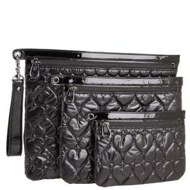 Betseyville Be Mine 4Ever 3 Peice Pouch- Black - To ensure stylish results, make sure to lock up your prized essentials in the lovelyBetseyville Be Mine 4Ever 3 Piece Cosmetic Pouch. Three piece cosmetic case made of synthetic heart-quilted patent leather. Holds your cosmetics, brushes, and, toiletries. Single removable wrist strap.Secure top-zip closure. Print-lined interior.Betseyville bags are designed by Betsey Johnson and has been rocking the fashion industry with her unique and…
