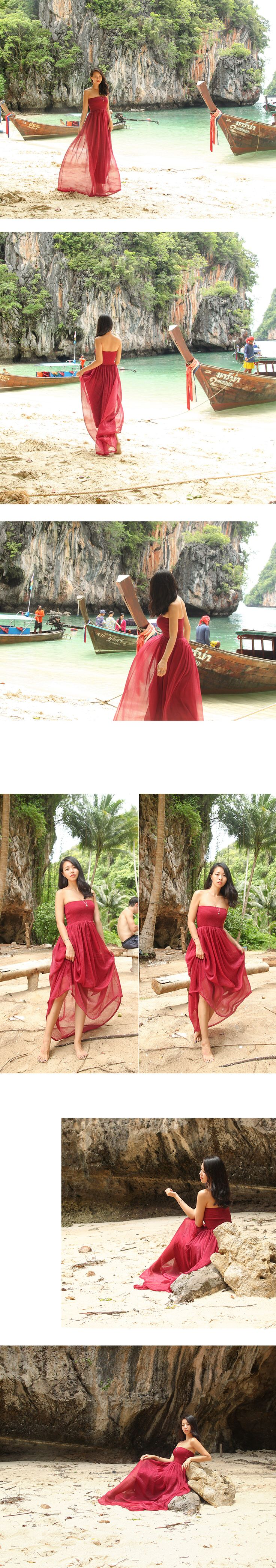 MAXILOOK [[당일배송]Red/Wine chiffon maxi dress레드/와인 스모그 맥시드레스-MM1612015 SUMMER 신상컬러!]