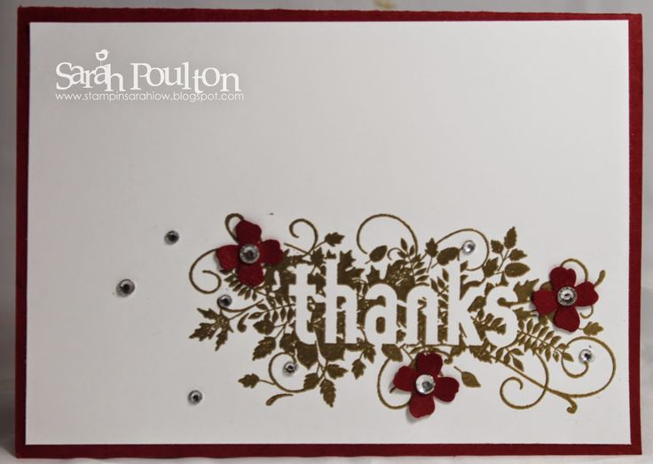Stampin' Sarah!: A simple Seasonally Scattered Thank You Card using Stampin' Up! Products. Order all products online: www.stampinsarah.stampinup.net