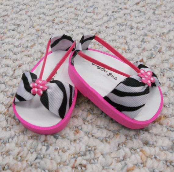"American Girl 18"" Doll Shoes Sandals Zebra Prints with Hot Pink Trim"