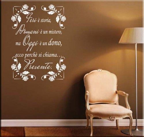 Adesivo murale frase oggi adesivi murali frasi by for Arredi murali