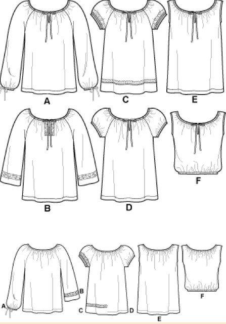 PEASANT RENAISSANCE Top Sewing Pattern 6 EASY por patterns4you                                                                                                                                                                                 Más