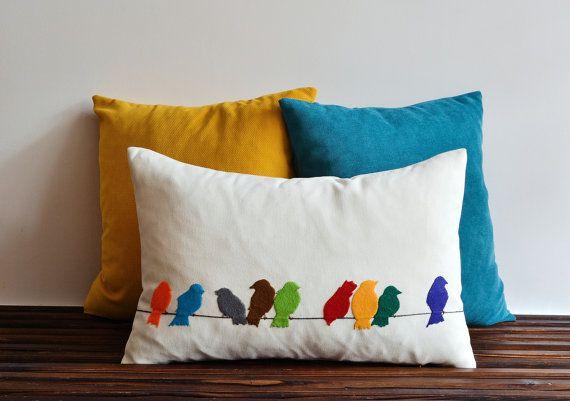 Felt Appliqued Pillow Cover  Bird Silhouette Pillow  by pillowme, $49.00