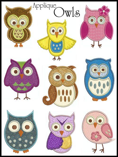 OWLS * Machine Applique Embroidery * 9 Designs, 2 sizes | eBay
