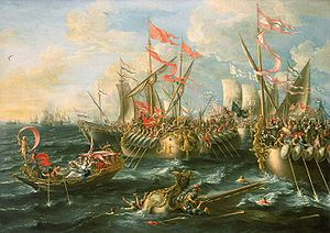 Sept 2, 31BC - The Battle of Actium was the decisive confrontation of the Final War of the Roman Republic, a naval engagement between Octavian and the combined forces of Mark Antony and Cleopatra.
