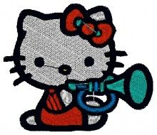 Trompet Kitty embroidery design - Machine Embroidery Designs