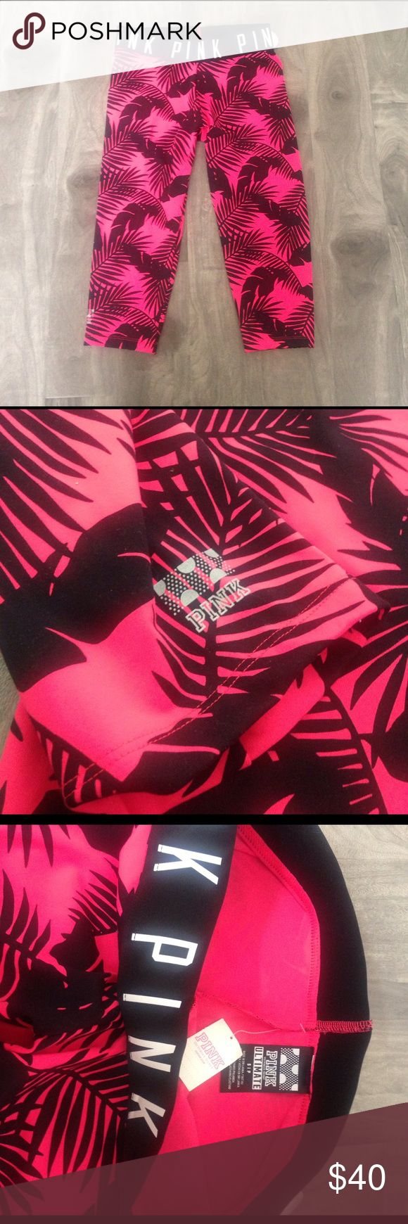 """NWT PINK Victoria's Secret Ultimate gym crop pants NWT PINK Victoria's Secret Ultimate gym yoga running crop pants. Vibrant and beautiful tropical pattern. 🌴🌴🌴 """" PINK"""" written around waist band. size small. 77% polyester & 23% Elastane. Retail: $55, ships same day of purchase. PINK Victoria's Secret Pants Track Pants & Joggers"""