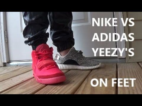 Kanye West x adidas Yeezy Boost 350 VS Nike Air Yeezy 2 Red October With...