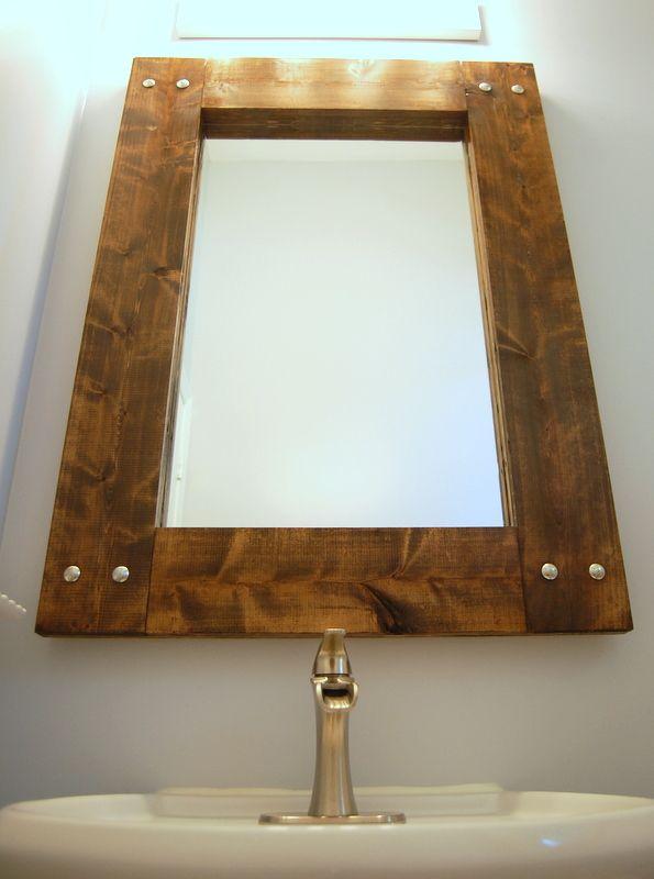 Diy Rustic Mirror And A Half Bath Update Farmhouse Mirrors