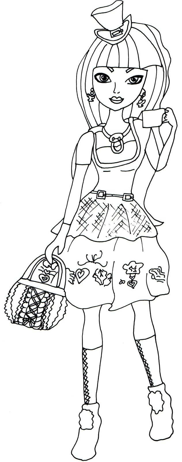 Free Printable Ever After High Coloring Pages Cerise Hood Hat Tastic