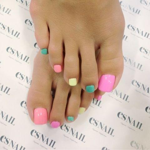 pink, green, yellow, purple, pastels #nailart #nails #pedicure