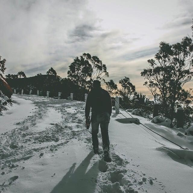 Walking up through the snow on Pinnacle Rd Mt Wellington after a big overnight dump. Image sent in by urge.x on IG: https://instagram.com/p/BJKXbr1DMUB/