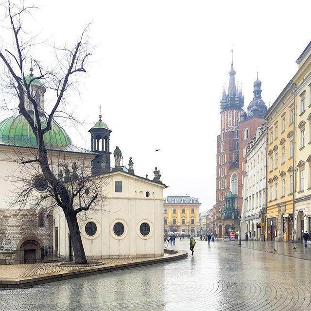 Main Square, Kraków I was still hoping to see some snow this winter, but all we got in Krakow was fog and rain. Nevertheless, this city looks charming, regardless any kind of weather ☔️