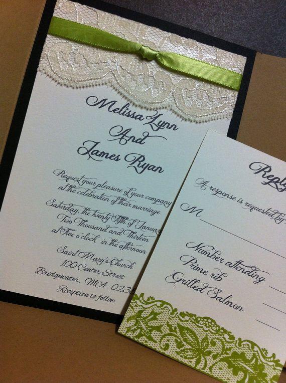 Romance and lace pocket fold wedding invitation set on Etsy, $4.35