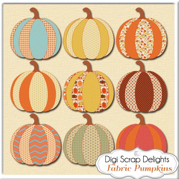fabric pumpkins Autumn Digital Scrapbook Freebie | Digital Scrapbooking Blog