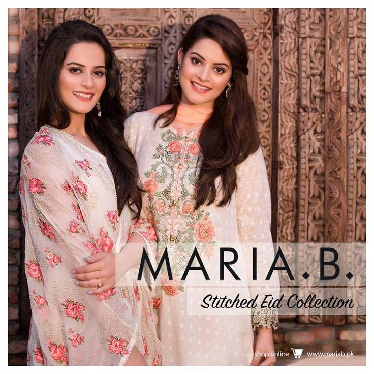 Maria B Latest Stitched Eid UL Azha Collection 2016-17 Maria B NewStitched Eid UL Adha Collection 2016-17 For Girls With Price and Images #mariab #mariaembroidered #chiffon #stitched #aimen #minal #eiduladha