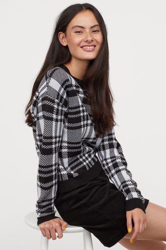 pullover in jacquardstrick schwarz weiss ladies h m de