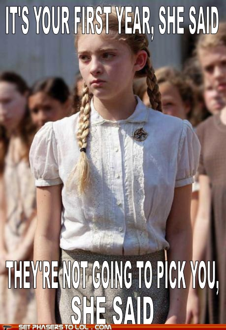 """""""they're not going to pick you"""" she saidFavors, The Hunger Games, Funny, Book, Movie, Katniss Everdeen, Thehungergames, Hunger Games Humor, First"""