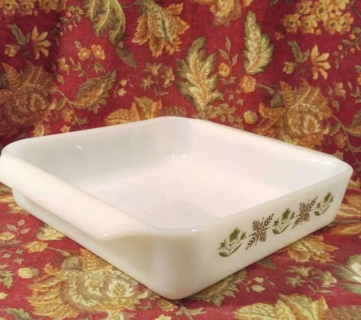 """Fire-King Milk Glass Vintage Green Meadow Pattern 8"""" Cake Casserole Baking Dish"""