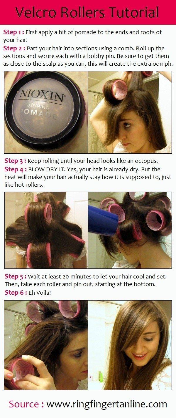 Otra forma de hacerte un secado sin usar las manos: Utiliza tubos grandes de velcro. | 16 trucos para un secado de cabello perfecto