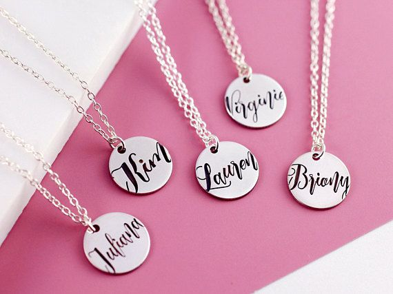 Disc Name Necklace Sterling Silver Dainty Name Necklace