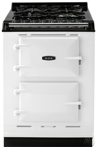 """$5699--AGA ACMPLPWHT 24"""" Cast-Iron Companion Dual Fuel Range with Liquid Propane, Manual Clean, 4 Sealed Burners, Slow Cook Oven, Roasting Oven and Two Electric Ovens: White"""