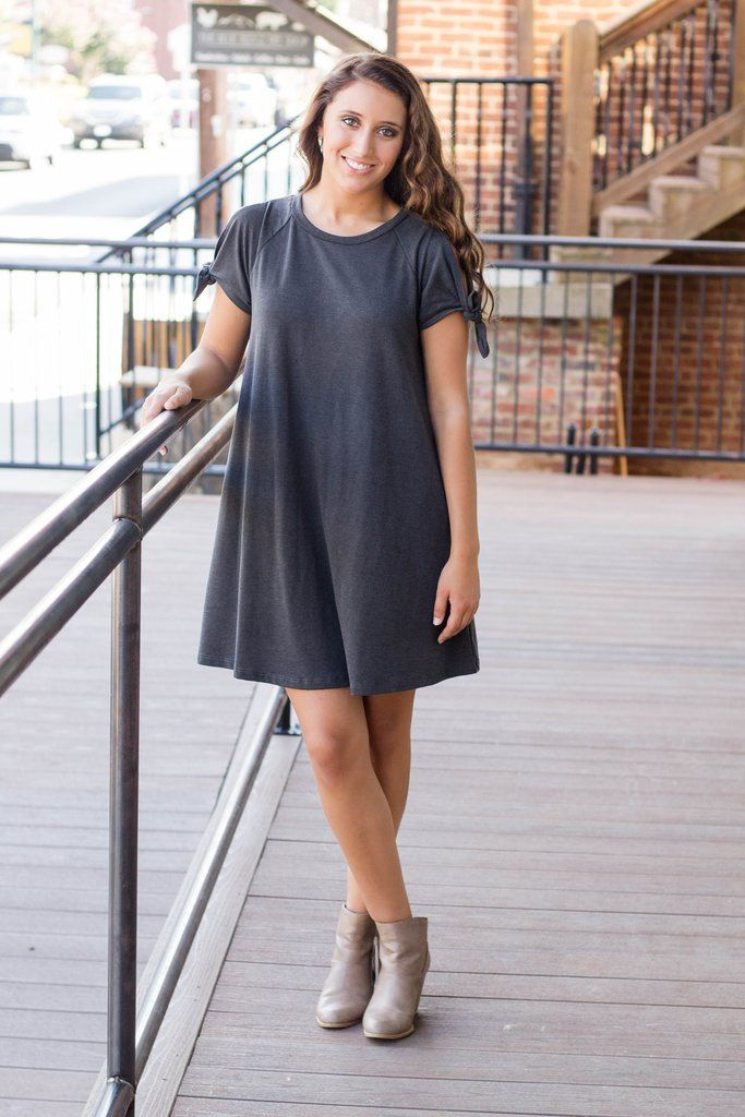 Basic Charcoal Tunic- Comfy Grey Dress- Solid Charcoal Dress- Cheap Women's Clothing Online