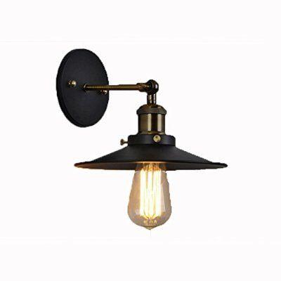 Fuloon Vintage Edison Industrial Simplicidad Luz de montaje en pared Luz apliques Mayores de acabado de latón antiguo con la cortina de metal Lámpara de pared Portalámparas para Bombillas decoracion hogar (Tamaño A: 21)