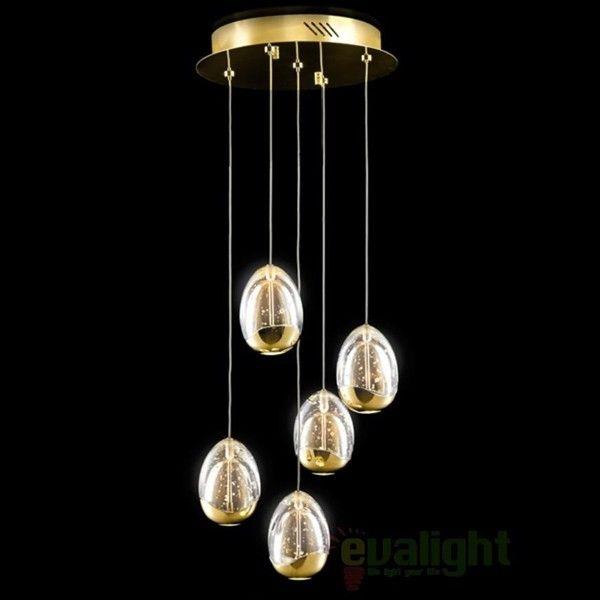 Lustra moderna cu 5 pendule LED diametru 30cm ROCIO auriu 783529 - Corpuri de iluminat, lustre, aplice