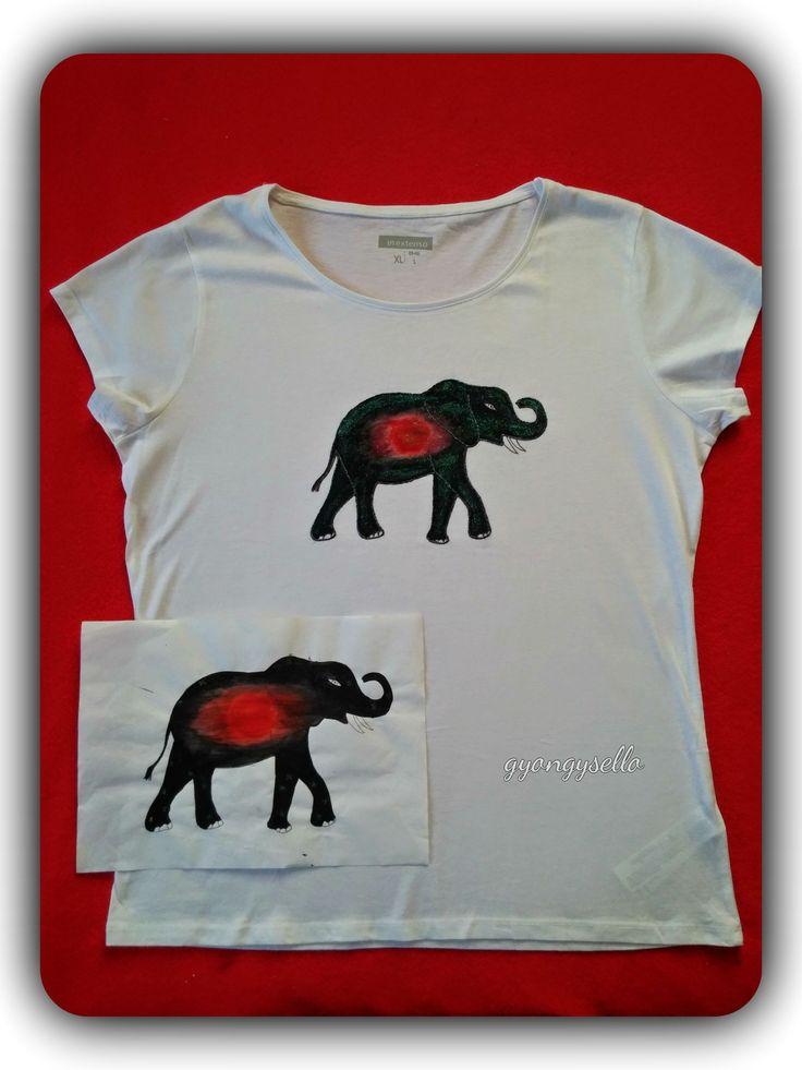 19 éves lány rajza alapján, kézzel festett, elefántos póló.