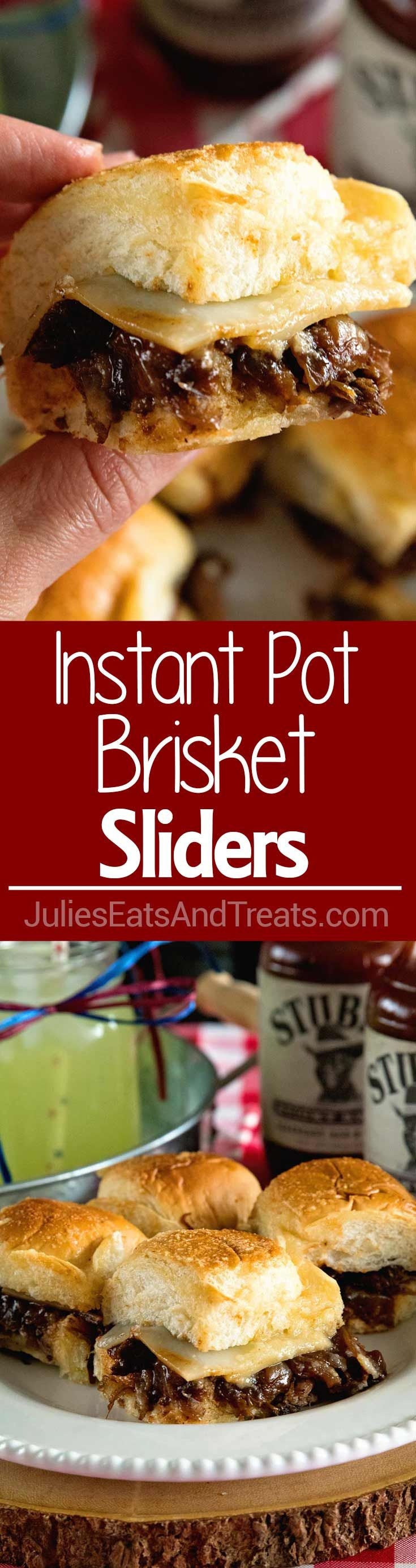 Instant Pot Brisket Sliders with Caramelized Onions ~ Tender, Shredded Brisket Cooked in Your Instant Pot. Stuffed into Sliders Then Topped with Caramelized Onions and Cheese! Perfect Finger Food for Parties! ~ https://www.julieseatsandtreats.com
