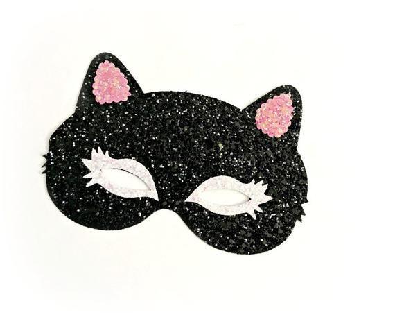 Black Glitter Kitty Mask Cat Headband Cat Mask Head