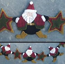 Starry Nite Santa Wool Applique Garland