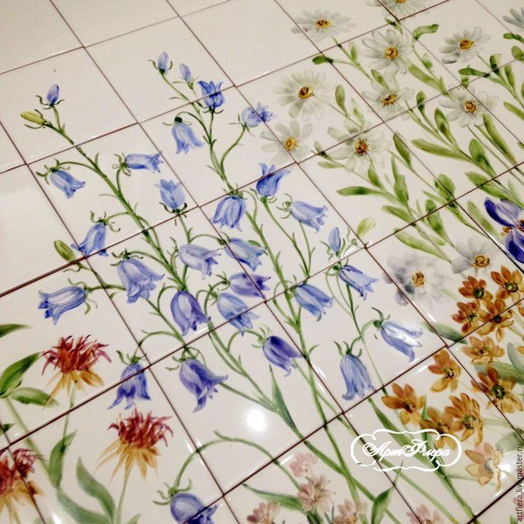 Купить Роспись плитки Фартук для кухни Мой сад - комбинированный, Роспись плитки, плитка